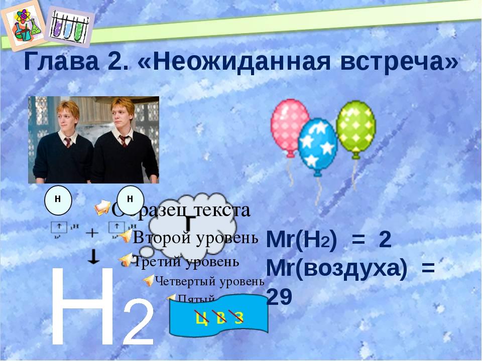 Глава 2. «Неожиданная встреча» Mr(Н2) = 2 Mr(воздуха) = 29