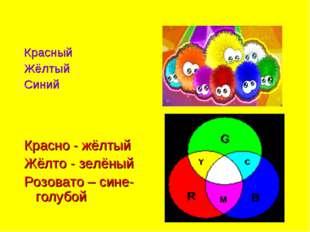 Красный Жёлтый Синий Красно - жёлтый Жёлто - зелёный Розовато – сине-голубой