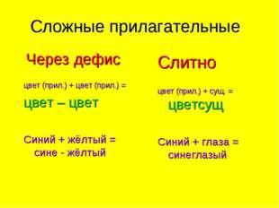 Сложные прилагательные Через дефис цвет (прил.) + цвет (прил.) = цвет – цвет