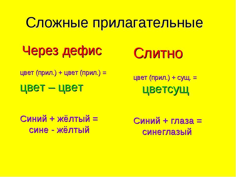 Сложные прилагательные Через дефис цвет (прил.) + цвет (прил.) = цвет – цвет...
