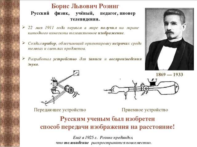 Борис Львович Розинг Русский физик, учёный, педагог, пионер телевидения. 22...