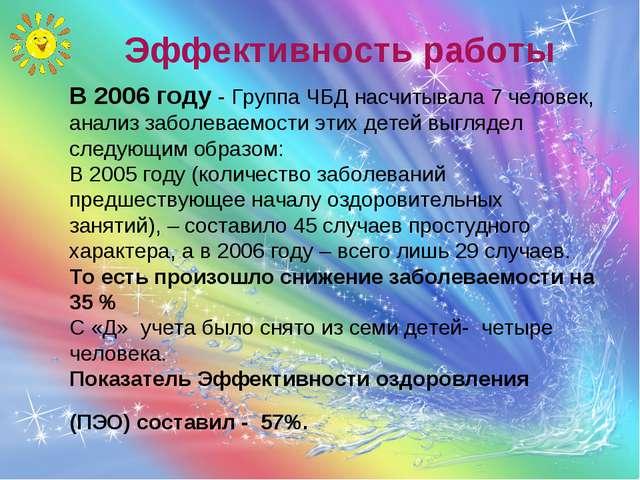 Эффективность работы В 2006 году - Группа ЧБД насчитывала 7 человек, анализ з...