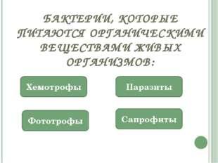 БАКТЕРИИ, КОТОРЫЕ ПИТАЮТСЯ ОРГАНИЧЕСКИМИ ВЕЩЕСТВАМИ ЖИВЫХ ОРГАНИЗМОВ: Сапрофи