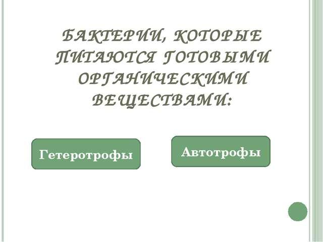 БАКТЕРИИ, КОТОРЫЕ ПИТАЮТСЯ ГОТОВЫМИ ОРГАНИЧЕСКИМИ ВЕЩЕСТВАМИ: Гетеротрофы Авт...