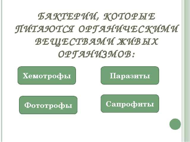 БАКТЕРИИ, КОТОРЫЕ ПИТАЮТСЯ ОРГАНИЧЕСКИМИ ВЕЩЕСТВАМИ ЖИВЫХ ОРГАНИЗМОВ: Сапрофи...