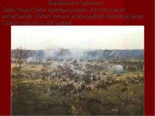 Бородинское сражение Силы сторон были примерно равны. Русская армия насчит