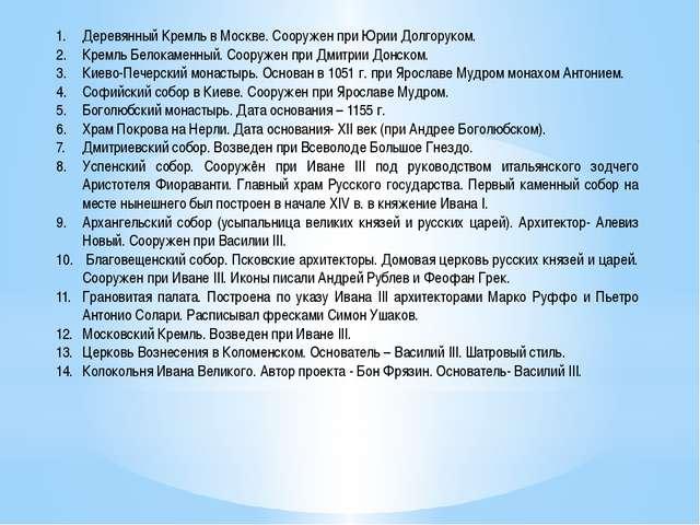 Деревянный Кремль в Москве. Сооружен при Юрии Долгоруком. Кремль Белокаменный...
