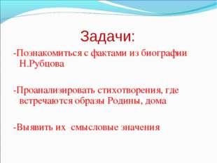 Задачи: -Познакомиться с фактами из биографии Н.Рубцова -Проанализировать сти