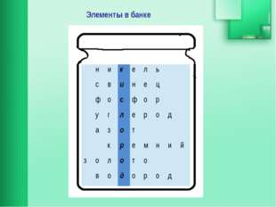 Элементы в банке н и к е л ь с в и н е ц ф о с ф о р у г л е р о д а з о т к