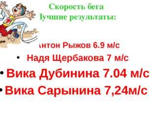 Скорость бега Лучшие результаты: Антон Рыжов 6.9 м/с Надя Щербакова 7 м/с Вик