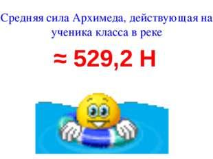 Средняя сила Архимеда, действующая на ученика класса в реке ≈ 529,2 Н