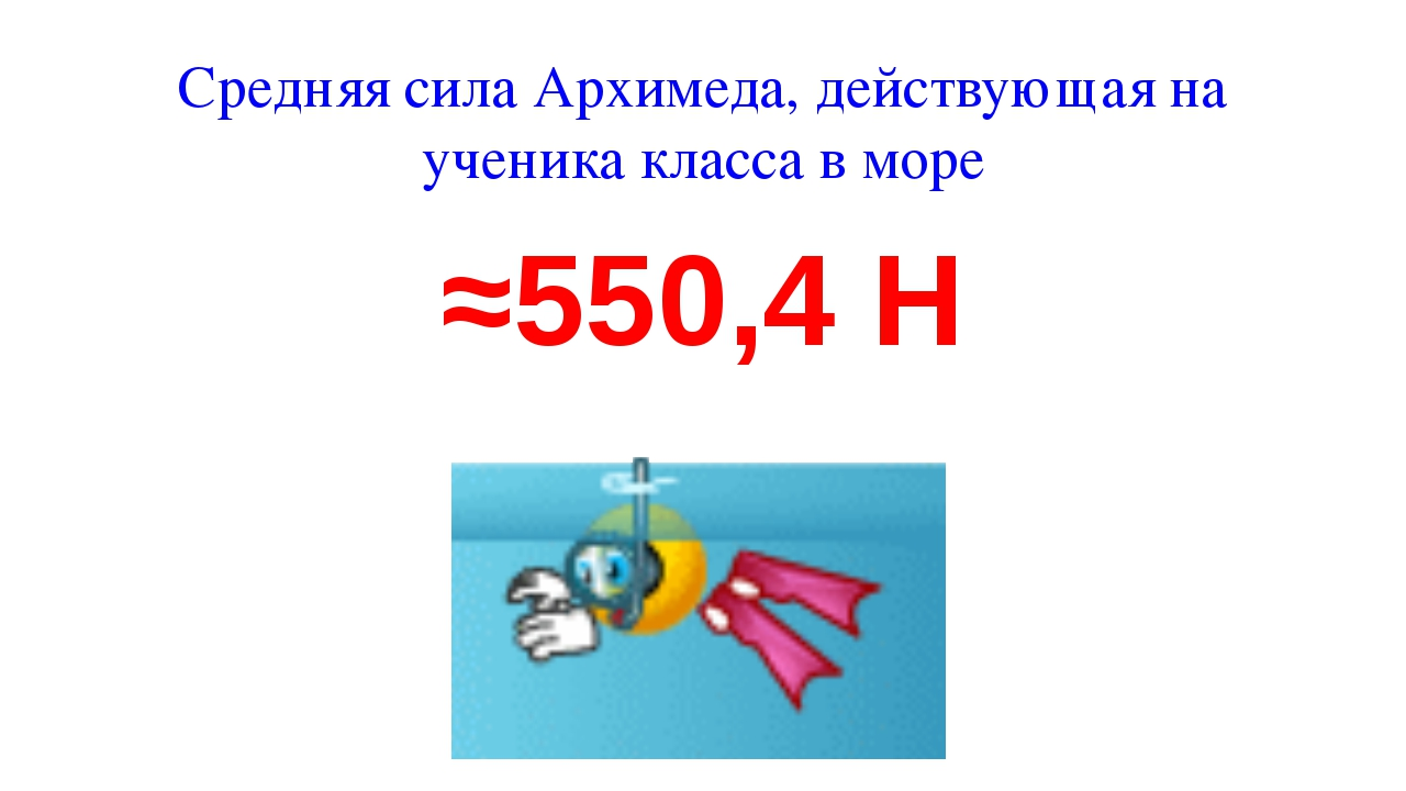 Средняя сила Архимеда, действующая на ученика класса в море ≈550,4 Н