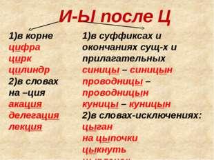 И-Ы после Ц 1)в корне цифра цирк цилиндр 2)в словах на –ция акация делегация