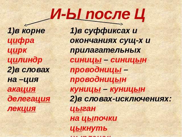 И-Ы после Ц 1)в корне цифра цирк цилиндр 2)в словах на –ция акация делегация...