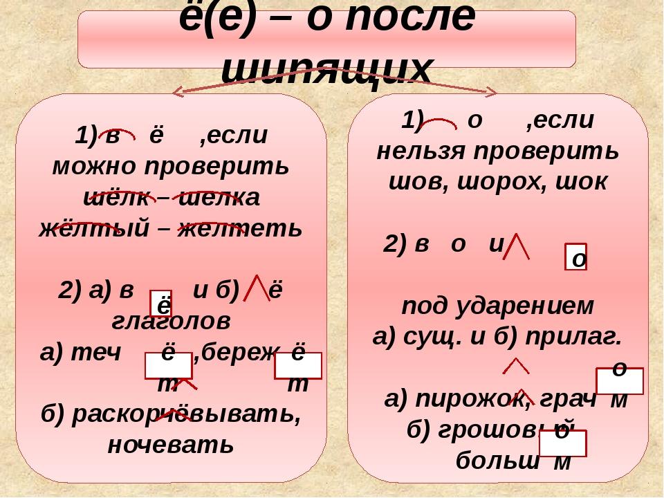 ё(е) – о после шипящих 1) в ё ,если можно проверить шёлк – шелка жёлтый – жел...