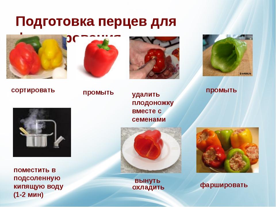 Подготовка перцев для фарширования сортировать промыть удалить плодоножку вме...