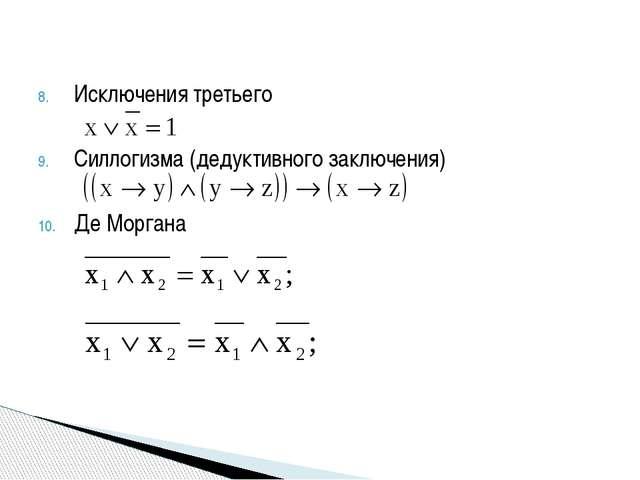 Исключения третьего Силлогизма (дедуктивного заключения) Де Моргана