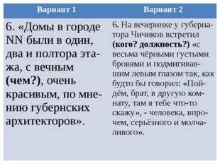 Вариант 1 Вариант 2 6. «Домы в городеNNбыли в один, два и полтораэта-жа, с ве