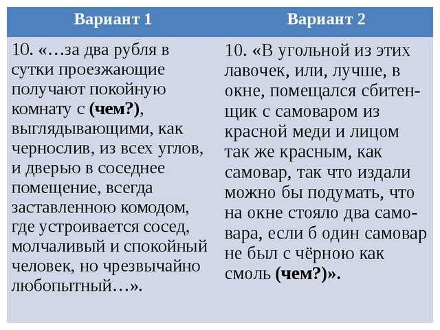 Вариант 1 Вариант 2 10. «…за два рубля в сутки проезжающие получают покойную...