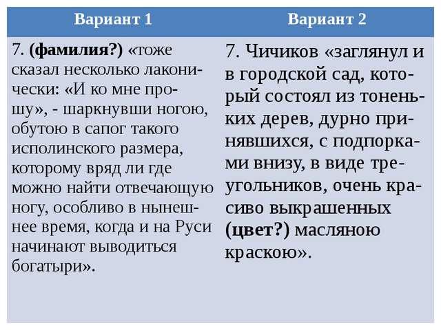 Вариант 1 Вариант 2 7.(фамилия?)«тоже сказал нескольколакони-чески: «И ко мне...