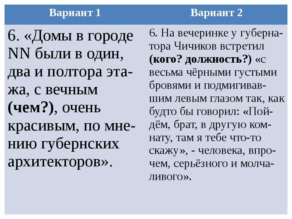 Вариант 1 Вариант 2 6. «Домы в городеNNбыли в один, два и полтораэта-жа, с ве...