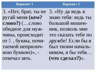 Вариант 1 Вариант 2 3. «Нет, брат, ты не ругай меня(кем? слово?)(…слово обидн