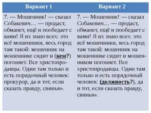Вариант 1 Вариант 2 7. — Мошенник! — сказал Собакевич… — продаст, обманет, ещ
