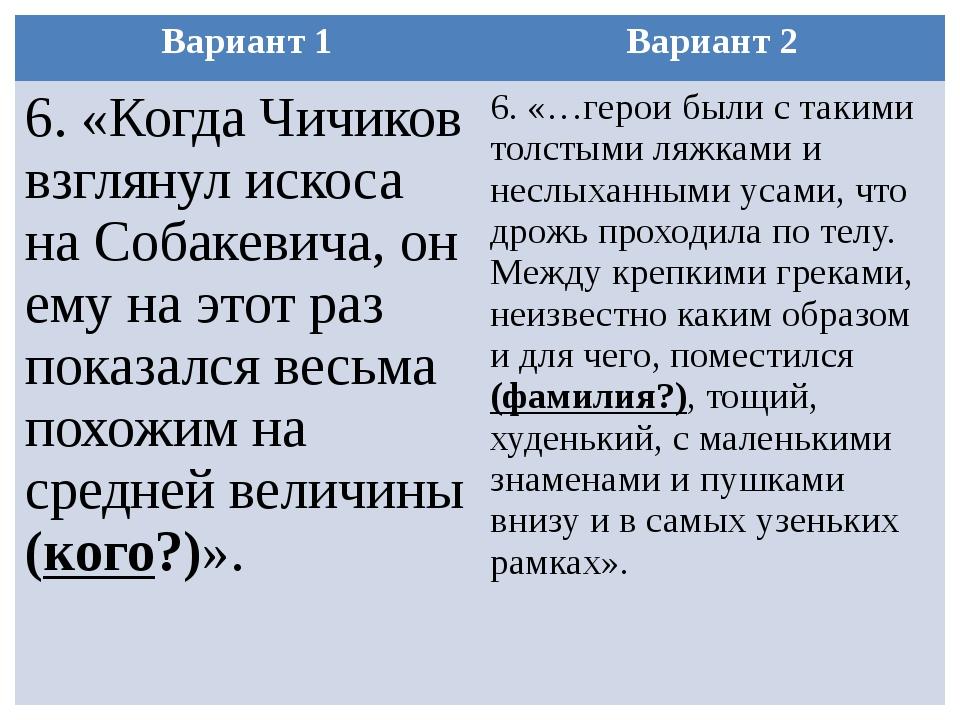 Вариант 1 Вариант 2 6. «Когда Чичиков взглянул искоса на Собакевича, он ему н...