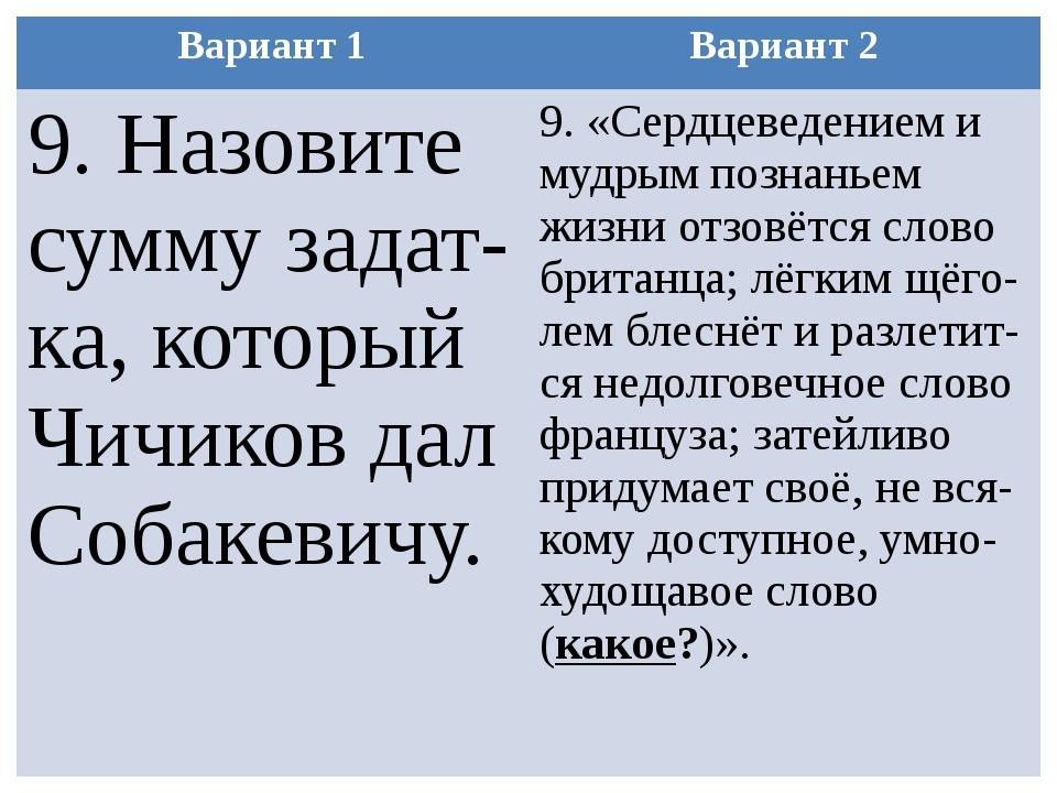 Вариант 1 Вариант 2 9. Назовите суммузадат-ка, который Чичиков дал Собакевичу...