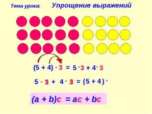 (5 + 4) 3 5 3 + 4 3 = Тема урока: Упрощение выражений 4 (а + b)с = ас + bс 3