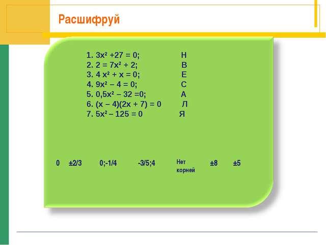 Расшифруй 1. 3х2 +27 = 0; Н 2. 2 = 7х2 + 2; В 3. 4 х2 + х = 0; Е 4. 9х2 – 4 =...