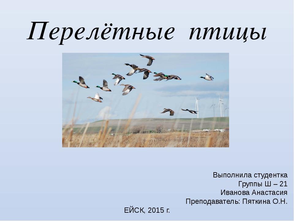 Введение Птицы — теплокровные существа. Средняя температура их тела составляе...