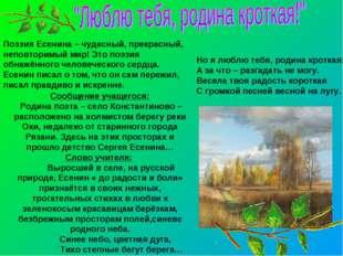 Сообщение учащегося: Родина поэта – село Константиново – расположено на холм