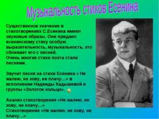 Существенное значение в стихотворениях С.Есенина имеют звуковые образы. Они п