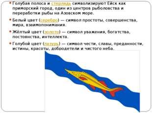 Голубая полоса истерлядьсимволизируют Ейск как приморский город, один из ц