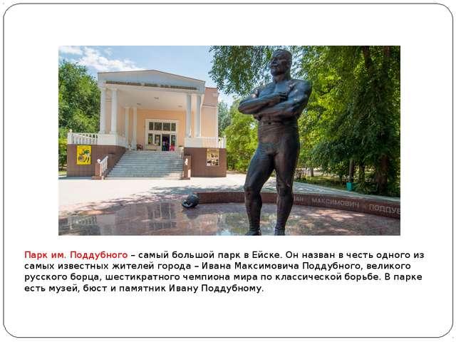 Парк им. Поддубного – самый большой парк в Ейске. Он назван в честь одного и...