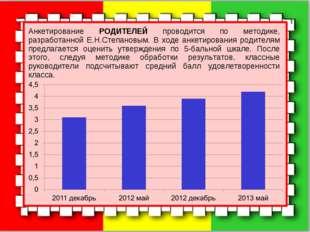 Анкетирование РОДИТЕЛЕЙ проводится по методике, разработанной Е.Н.Степановым.