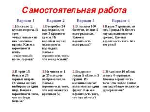 Самостоятельная работа Вариант 1Вариант 2Вариант 3Вариант 4 1. На столе 12