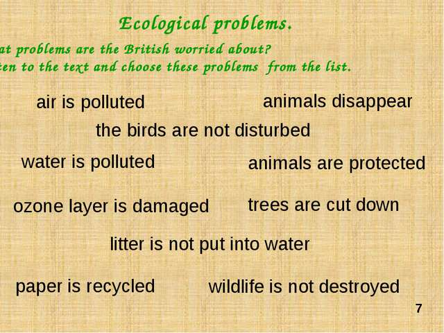 Let's speak about ecological problems that you are worried. Model: Hello, Tan...