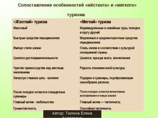 Сопоставление особенностей «жёсткого» и «мягкого» туризма Автор: Тюлина Елена