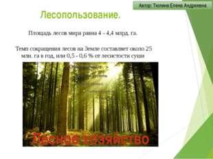 Лесопользование. Площадь лесов мира равна 4 - 4,4 млрд. га. Темп сокращения л