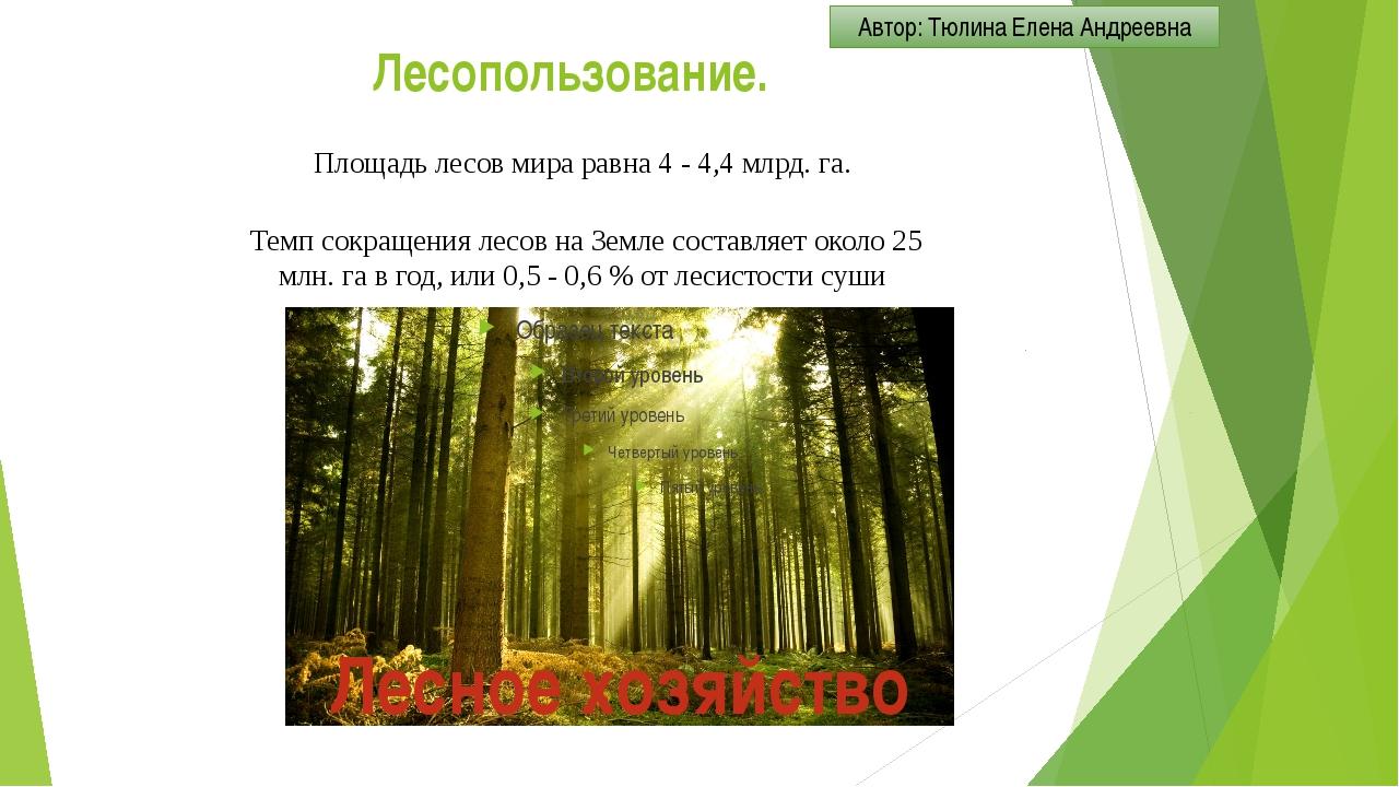 Лесопользование. Площадь лесов мира равна 4 - 4,4 млрд. га. Темп сокращения л...