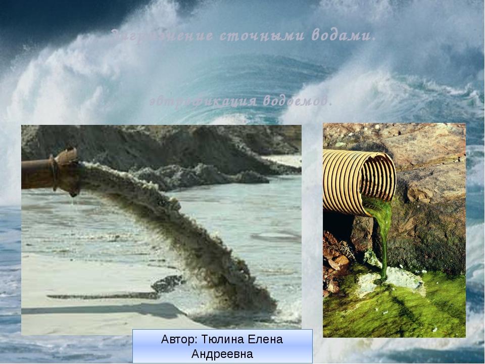 Загрязнение сточными водами. эвтрофикация водоемов. Автор: Тюлина Елена Анд...