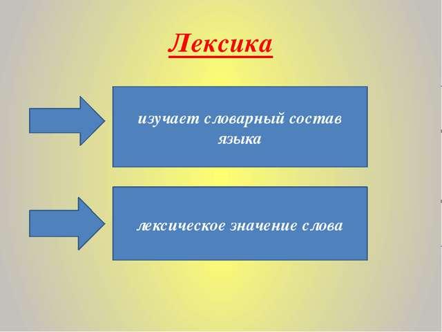 Лексика изучает словарный состав языка лексическое значение слова