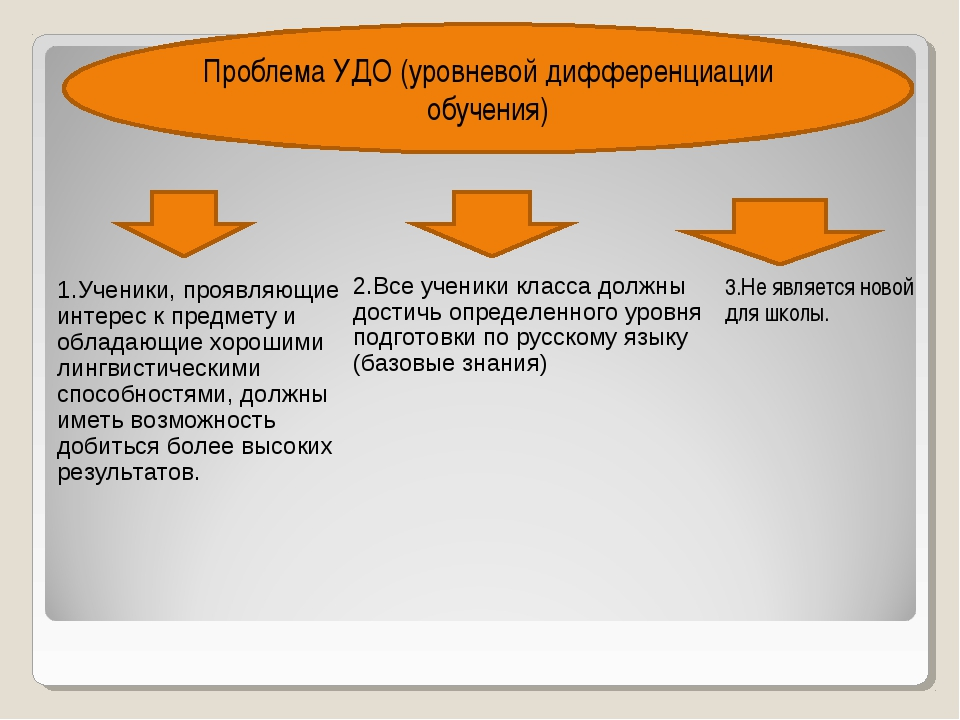 3.Не является новой для школы. Проблема УДО (уровневой дифференциации обучени...