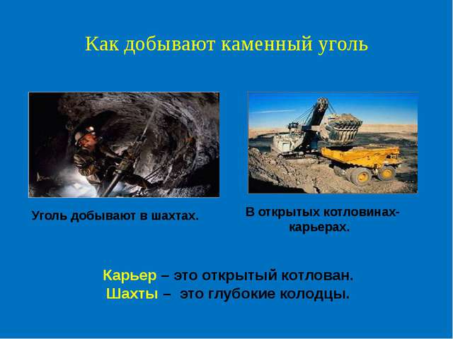 Как добывают каменный уголь Уголь добывают в шахтах. В открытых котловинах- к...