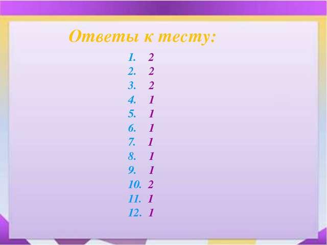 + Ответы к тесту: 1. 2 2. 2 3. 2 4. 1 5. 1 6. 1 7. 1 8. 1 9. 1 10. 2 11. 1 12...