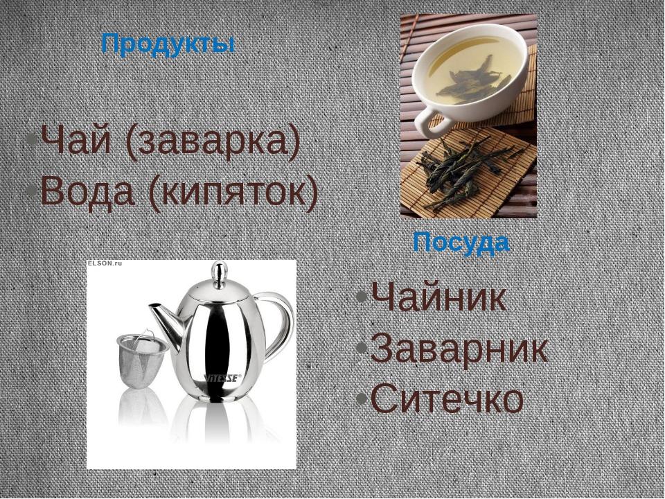 Чай (заварка) Вода (кипяток) Чайник Заварник Ситечко Продукты Посуда