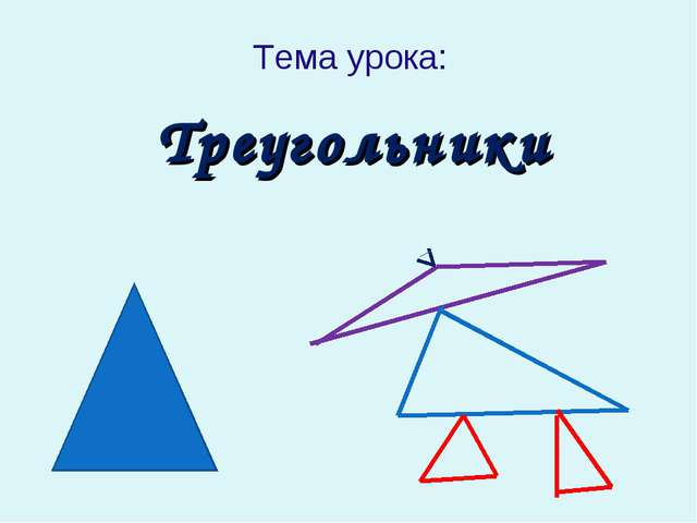 Треугольники Тема урока:
