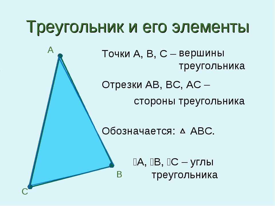 Треугольник и его элементы Точки А, В, С – Отрезки АВ, ВС, АС – Обозначается:...